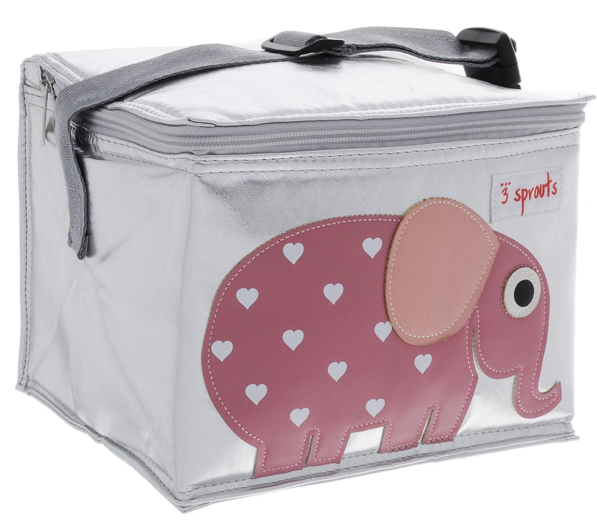 3 Sprouts Сумка для обеда Розовый слоник00002Сумка для обеда 3 Sprouts Розовый слоник идеальна для контейнеров, так что вы можете отправить детей в школу вместе с сытными закусками и обедами. В этой сумке еда не нагреется. Мыть ее чрезвычайно легко. Специальная бирка на внутренней поверхности сумки предназначена для указания имени ребенка. Прочная застежка-молния, хорошая вместительность, стильный серебристый цвет и красивая аппликация делают использование этой сумки удобным и приятным для ребенка. Регулируемый ремешок с защелкой позволит прикрепить сумку к рюкзаку или другой сумке.Сумка изготовлена без применения фталатов, PVC и свинца.