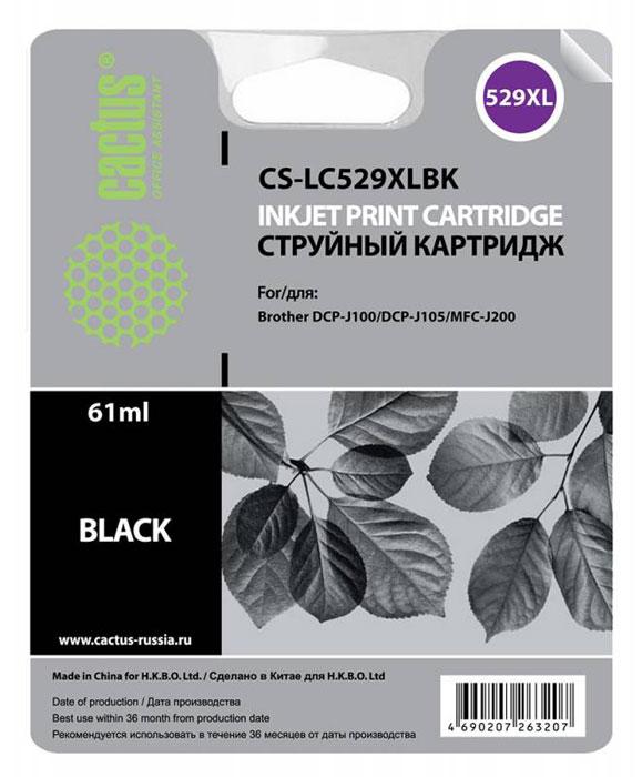 Cactus CS-LC529XLBK, Black картридж струйный для Brother DCP-J100/J105/J200CS-LC529XLBKКартридж Cactus CS-LC529XLBK для струйных принтеров Brother DCP-J100/J105/J200.Расходные материалы Cactus для струйной печати максимизируют характеристики принтера. Обеспечивают повышенную чёткость чёрного текста и плавность переходов оттенков серого цвета и полутонов, позволяют отображать мельчайшие детали изображения. Обеспечивают надежное качество печати.