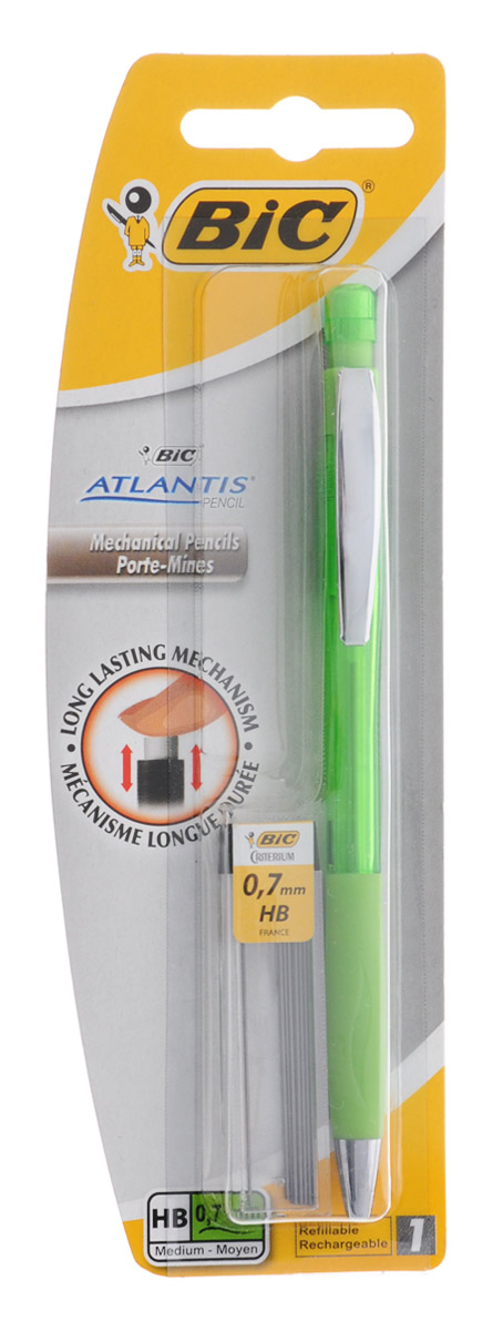 Bic Карандаш механический Atlantis со сменными грифелями цвет корпуса зеленыйB8208002_зеленыйМеханический карандаш Bic Atlantis будет вашим незаменимым помощников в школе, офисе и дома.Благодаря выдвижному пишущему узлу карандаш не пачкается. Прорезиненный грип исключает скольжение пальцев во время письма, обеспечивая комфорт. Специальный ластик для графита встроен в кнопку карандаша. В комплект также входит контейнер с 12 запасными грифелями.Цвет грифеля: серый.