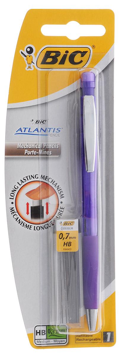 Bic Карандаш механический Atlantis со сменными грифелями цвет корпуса фиолетовыйB8208002_фиолетовыйМеханический карандаш Bic Atlantis будет вашим незаменимым помощников в школе, офисе и дома.Благодаря выдвижному пишущему узлу карандаш не пачкается. Прорезиненный грип исключает скольжение пальцев во время письма, обеспечивая комфорт. Специальный ластик для графита встроен в кнопку карандаша. В комплект также входит контейнер с 12 запасными грифелями.