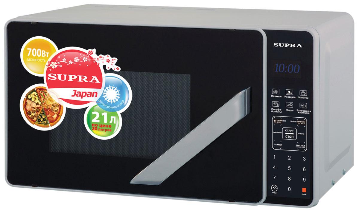Supra MWS-2106SS СВЧ-печьMWS-2106SSМикроволновая печь Supra MWS-2106SS предназначена для быстрого приготовления или быстрого подогрева пищи, а также для размораживания продуктов. Supra MWS-2106SS с десятью режимами мощности проста в использовании, оснащена шестью автоматическими программами, режимом разогрева блюд одним касанием, режимом разморозки и звуковым сигналом об окончании приготовления. Управление сенсорное. Компактная микроволновая печь со стильным дизайном отличается высоким качеством сборки, прочностью и надежностью, станет неизменным атрибутом на вашей кухни.