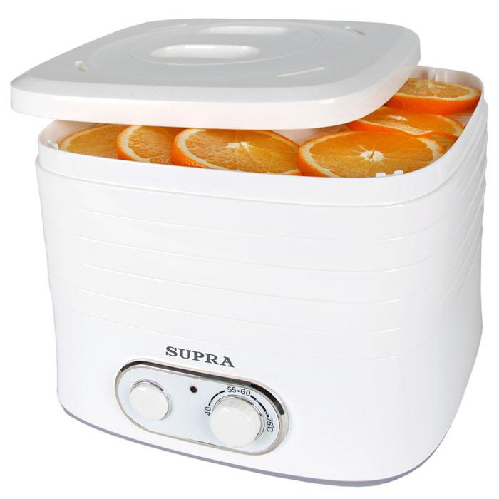 Supra DFS-523 электросушилка для овощейDFS-523Сушилка для фруктов и овощей Supra DFS-523 подходит для сушки овощей, фруктов, грибов, орехов, ягод, зелени, а также лечебных трав, мяса, рыбы или хлеба. Регулятор температуры в диапазоне от 40°С до 75°С позволяет подобрать оптимальный режим сушки для разных продуктов.Механическое управлениеВстроенный вентиляторЗащита от перегреваВысота просвета между секциями 34 или 50 мм Противоскользящие ножки