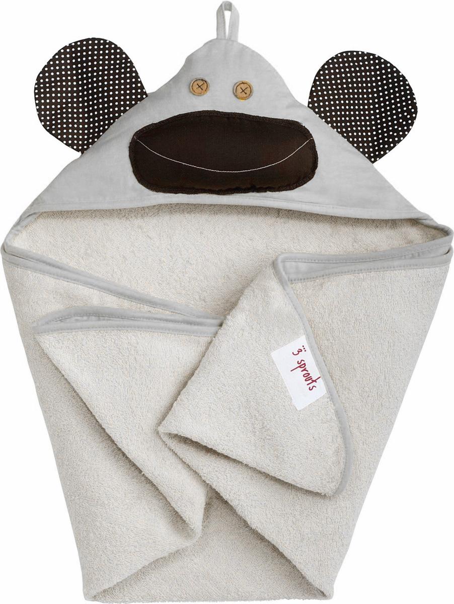 """Полотенце с капюшоном 3 Sprouts """"Серая обезьянка"""" идеально подходит после купания в ванной или бассейне. Изготовлено из 100% хлопка (махровое изнутри). Дети и родители не останутся равнодушными к этому полотенцу с забавным животным на капюшоне.Идеально для малышей от 0 до 18 месяцев.Уход: машинная стирка в щадящем режиме с похожими цветами, не отбеливать, машинная сушка."""