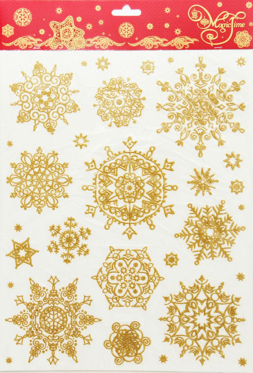 Украшение новогоднее оконное Magic Time Снежинки золотые объемные 2, 30 х 38 см38635Новогоднее оконное украшение Magic Time поможет украсить дом к предстоящим праздникам. Яркие изображения в виде снежинок нанесены на прозрачную пленку и крепятся к гладкой поверхности стекла посредством статического эффекта. Рисунки декорированы блестками. С помощью этих украшений вы сможете оживить интерьер по своему вкусу.Новогодние украшения всегда несут в себе волшебство и красоту праздника. Создайте в своем доме атмосферу тепла, веселья и радости, украшая его всей семьей.Размер листа: 30 х 38 см.Средний диаметр снежинки: 10 см.