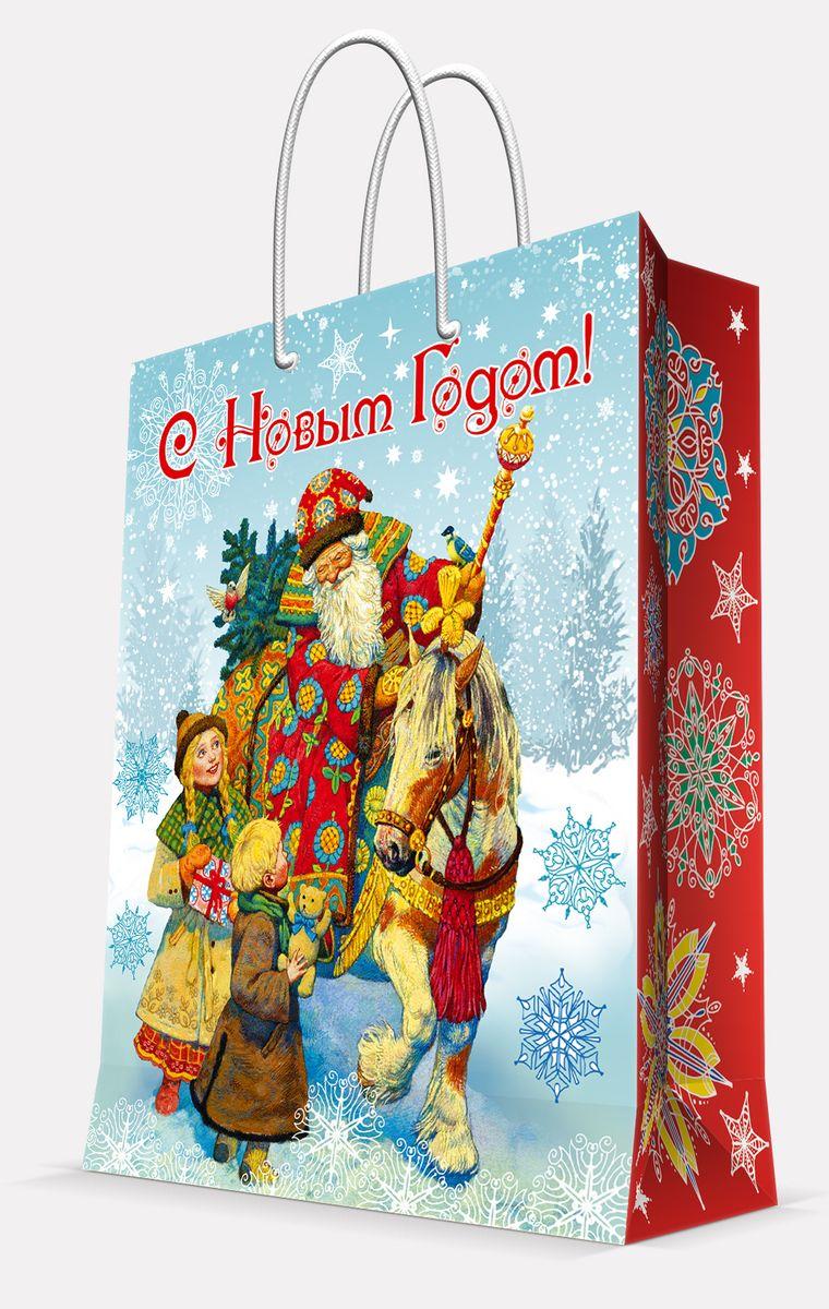 Пакет подарочный Magic Time Дед Мороз и дети, 17,8 х 22,9 х 9,8 см41974Подарочный пакет Magic Time Дед Мороз и дети, изготовленный из плотной бумаги, станет незаменимым дополнением к выбранному подарку. Пакет выполнен с глянцевой ламинацией, что придает ему прочность, а изображению - яркость и насыщенность цветов. Для удобной переноски на пакете имеются две ручки из шнурков.Подарок, преподнесенный в оригинальной упаковке, всегда будет самым эффектным и запоминающимся. Окружите близких людей вниманием и заботой, вручив презент в нарядном, праздничном оформлении.Плотность бумаги: 140 г/м2.