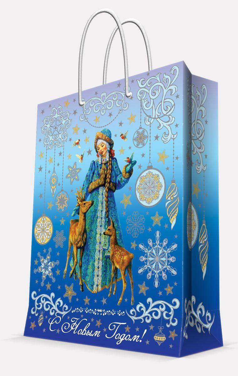 Пакет подарочный Magic Time Снегурочка и оленята, 26 х 32,4 х 12,7 см41998Подарочный пакет Magic Time Снегурочка и оленята, изготовленный из плотной бумаги, станет незаменимым дополнением к выбранному подарку. Пакет выполнен с глянцевой ламинацией, что придает ему прочность, а изображению - яркость и насыщенность цветов. Для удобной переноски на пакете имеются две ручки из шнурков.Подарок, преподнесенный в оригинальной упаковке, всегда будет самым эффектным и запоминающимся. Окружите близких людей вниманием и заботой, вручив презент в нарядном, праздничном оформлении.Плотность бумаги: 140 г/м2.