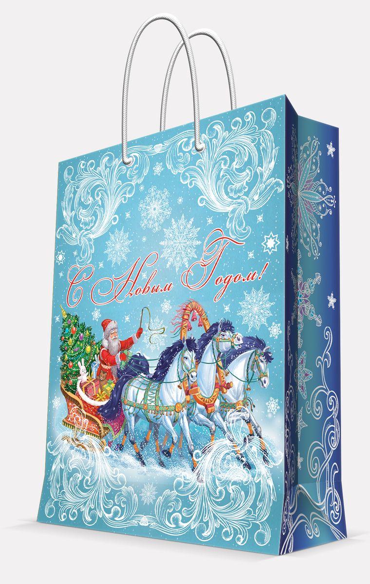 Пакет подарочный Magic Time Дед Мороз на тройке, 26 х 32,4 х 12,7 см42003Подарочный пакет Magic Time Дед Мороз на тройке, изготовленный из плотной бумаги, станет незаменимым дополнением к выбранному подарку. Пакет выполнен с глянцевой ламинацией, что придает ему прочность, а изображению - яркость и насыщенность цветов. Для удобной переноски на пакете имеются две ручки из шнурков.Подарок, преподнесенный в оригинальной упаковке, всегда будет самым эффектным и запоминающимся. Окружите близких людей вниманием и заботой, вручив презент в нарядном, праздничном оформлении.Плотность бумаги: 140 г/м2.