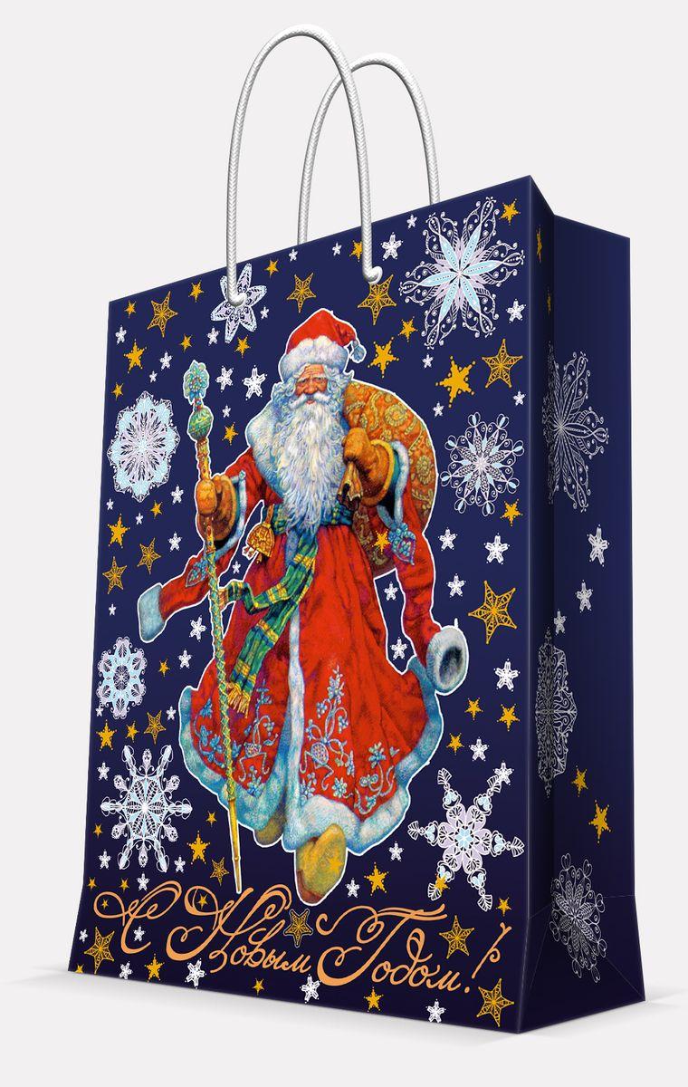 """Подарочный пакет Magic Time """"Дед Мороз в красном кафтане"""", изготовленный из плотной бумаги, станет  незаменимым дополнением к выбранному подарку. Пакет выполнен с глянцевой  ламинацией, что придает ему прочность, а  изображению - яркость и насыщенность цветов. Для удобной переноски на пакете имеются  две ручки из шнурков. Подарок, преподнесенный в оригинальной упаковке, всегда будет самым  эффектным и запоминающимся. Окружите близких людей вниманием и заботой,  вручив презент в нарядном, праздничном оформлении. Плотность бумаги: 140 г/м2."""