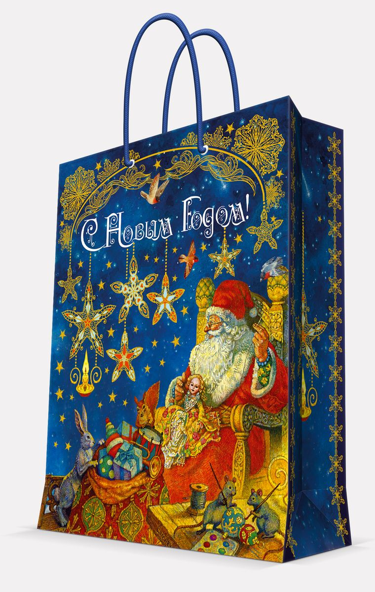 Пакет подарочный Magic Time Мастерская Деда Мороза, 33 х 45,7 х 10,2 см42027Подарочный пакет Magic Time Мастерская Деда Мороза, изготовленный из плотной бумаги, станет незаменимым дополнением к выбранному подарку. Пакет выполнен с глянцевой ламинацией, что придает ему прочность, а изображению - яркость и насыщенность цветов. Для удобной переноски на пакете имеются две ручки из шнурков.Подарок, преподнесенный в оригинальной упаковке, всегда будет самым эффектным и запоминающимся. Окружите близких людей вниманием и заботой, вручив презент в нарядном, праздничном оформлении.Плотность бумаги: 140 г/м2.