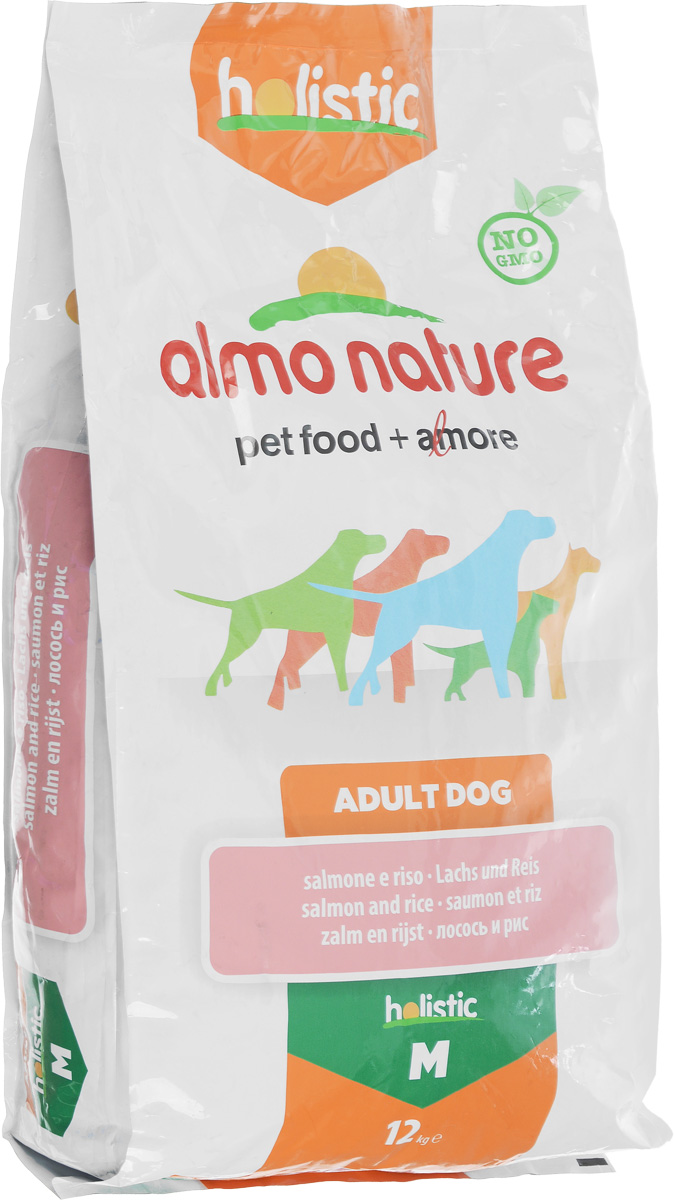 Корм сухой Almo Nature для взрослых собак, с лососем, 12 кг