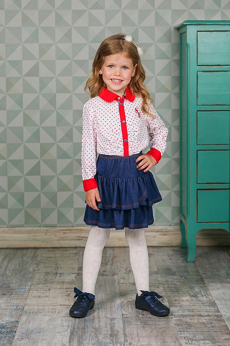 Блузка для девочки Sweet Berry, цвет: красный, белый. 205420. Размер 116