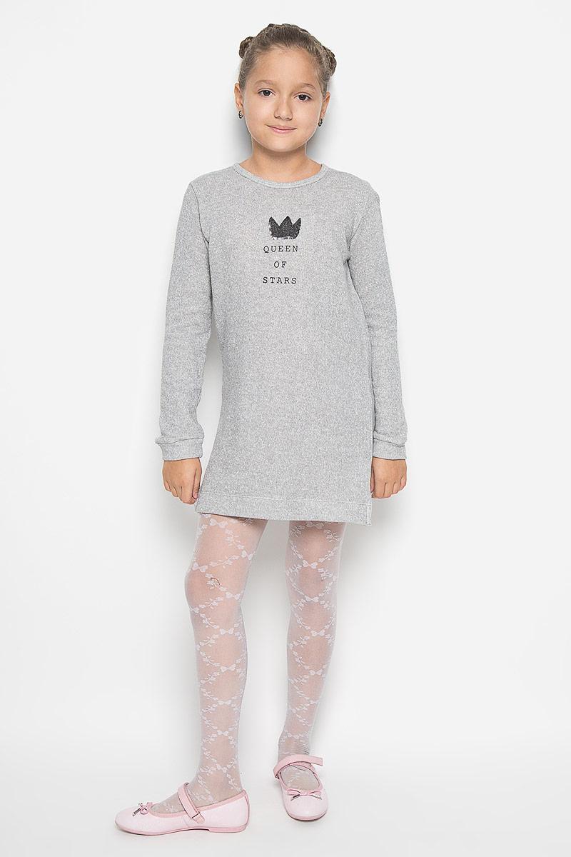 Платье для девочки Sela, цвет: серый меланж. DK-617/423-6382. Размер 116, 6 лет