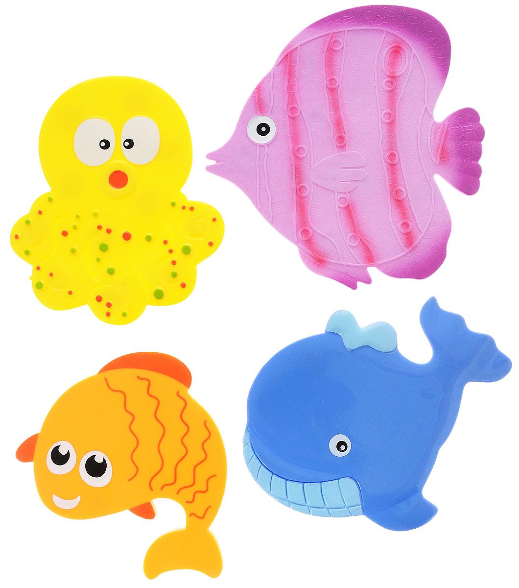 Valiant Мини-коврик для ванной комнаты Подводный мир на присосках 4 штMIX4S5Мини-коврик для ванной комнаты Valiant Подводный мир - это модный и экономичный способ сделать вашу ванную комнату более уютной, красивой и безопасной.В наборе представлены 4 мини-коврика. Коврики прочно крепятся на любую гладкую поверхность с помощью присосок. Расположите коврики там, где вам необходимо яркое цветовое пятно и надежная противоскользящая опора - на поверхности ванной, на кафельной стене или стенке душевой кабины или на полу - как дополнение вашего коврика стандартного размера.Мини-коврики Valiant незаменимы при купании маленького ребенка: он не поскользнется и не упадет, держась за мягкую и приятную на ощупь рифленую поверхность коврика.Рекомендации по уходу: после использования тщательно смойте остатки мыла или других косметических средств с коврика.