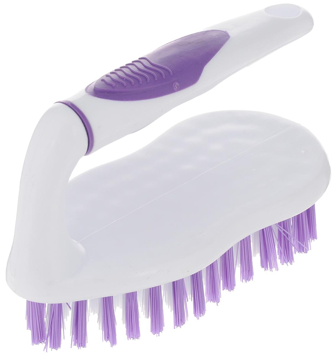 Еврощетка Home Queen Утюг, универсальная, цвет: белый, фиолетовый52076Еврощетка Home Queen Утюг, выполненная из полипропилена и нейлона, является универсальной щеткой для любых поверхностей, эффективно очищающей загрязнения. Оснащена удобной ручкой.Размер: 15 х 7 х 11,5 см.Длина ворсинок: 2,5 см.