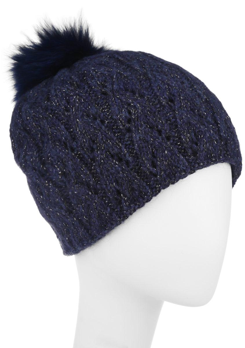 Шапка женская Baon, цвет: темно-синий. B346530. Размер универсальныйB346530Вязаная женская шапка Baon отлично подойдет для модниц в холодное время года. Она мягкая и приятная на ощупь, обладает хорошими дышащими свойствами и максимально удерживает тепло.Красивый съемный помпон из натурального меха отлично дополняет головной убор. Изделие оформлено крупным вязаным узором, а также дополнено небольшой металлической пластиной с названием бренда.Такой стильный и теплый аксессуар подчеркнет ваш образ и индивидуальность.