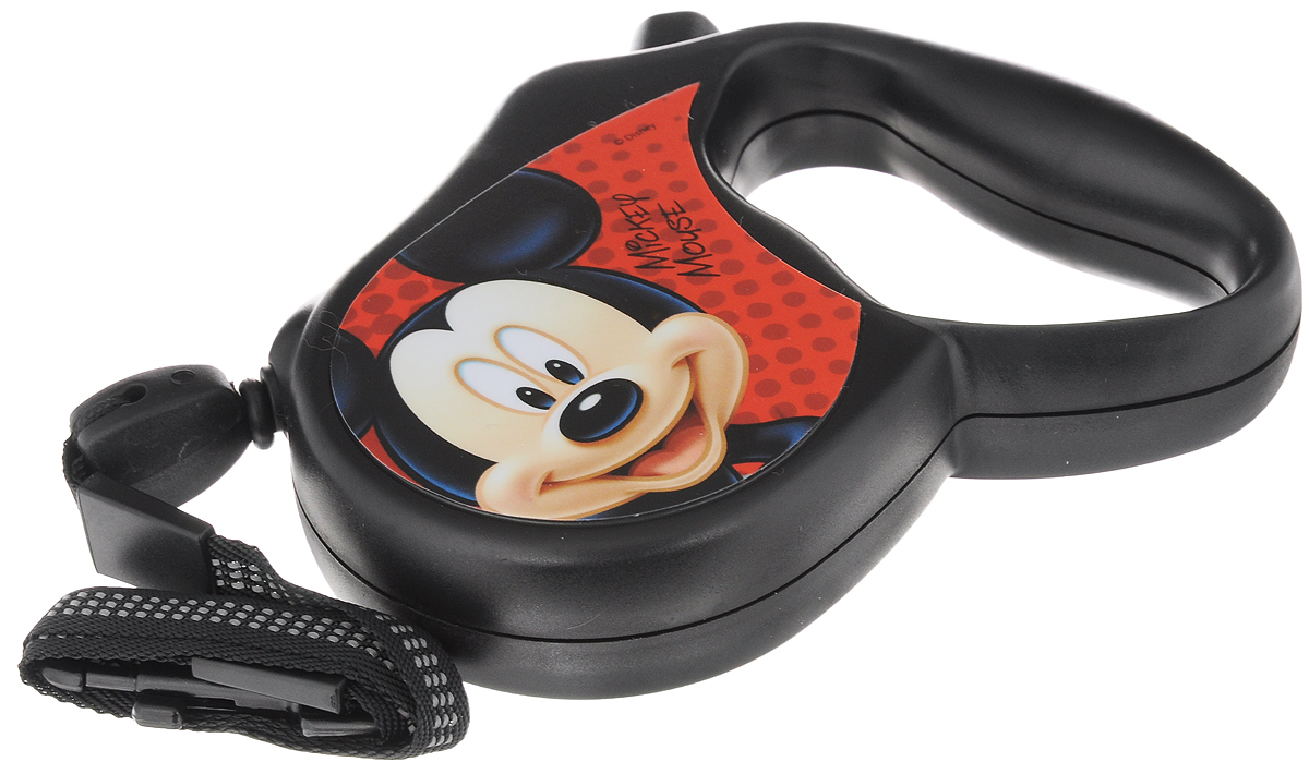 Поводок-рулетка Triol Disney. Mickey, для собак до 12 кг, цвет: черный, красный, 3 м поводок рулетка freego гепард для собак до 12 кг размер s цвет бежевый коричневый 3 м