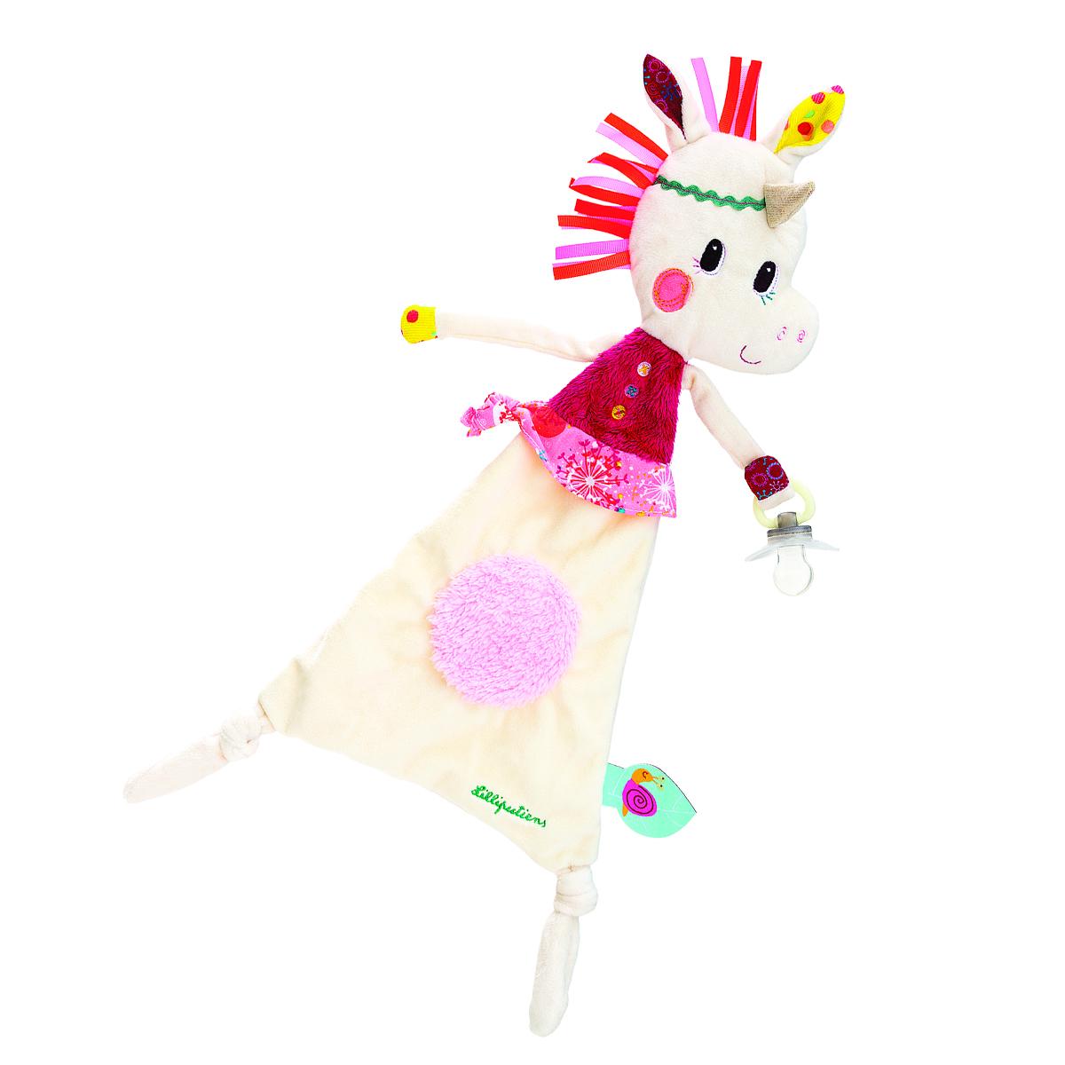 Lilliputiens Игрушка-обнимашка Единорожка Луиза с держателем для пустышки погремушки lilliputiens ручная единорожка луиза