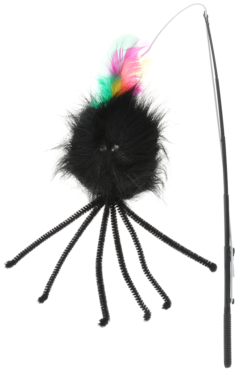 Игрушка для животных Каскад Удочка с пауком и перьями, длина 58,5 см игрушка для животных каскад мячик пробковый диаметр 3 5 см