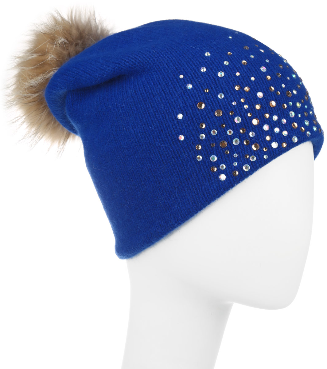 Шапка женская Baon, цвет: синий. B346546. Размер универсальныйB346546Вязаная женская шапка Baon отлично подойдет для модниц в холодное время года. Она мягкая и приятная на ощупь, обладает хорошими дышащими свойствами и максимально удерживает тепло.Красивый съемный помпон из натурального меха отлично дополняет головной убор. Шапка оформлена сверкающими стразами. Такой стильный и теплый аксессуар подчеркнет ваш образ и индивидуальность.