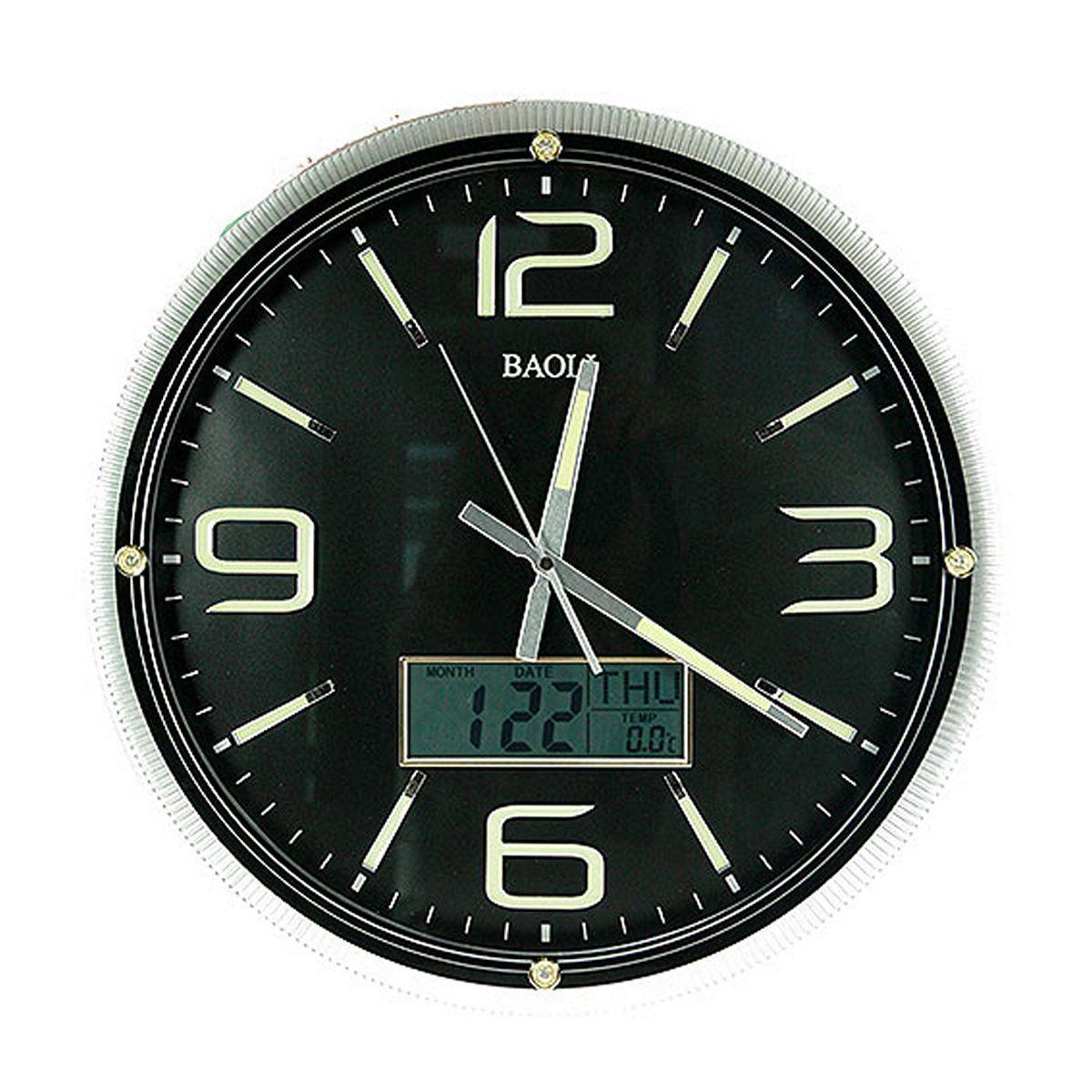 Часы настенные Русские Подарки, с календарем, термометром, электронными часами, диаметр 42 см. 148120148120Настенные кварцевые часы Русские Подарки изготовлены из пластика. Циферблат защищен стеклом. Часы имеют три стрелки - часовую, минутную и секундную. Благодаря специальному встроенному механизму, вы можете пользоваться функцией календаря, термометра и электронных часов. С обратной стороны имеетсяпетелька для подвешивания на стену. Изящные часы красиво и оригинально оформят интерьер дома или офиса. Также часы могут стать уникальным, полезным подарком для родственников, коллег, знакомых и близких.Часы работают от батареек типа АА (в комплект не входят).