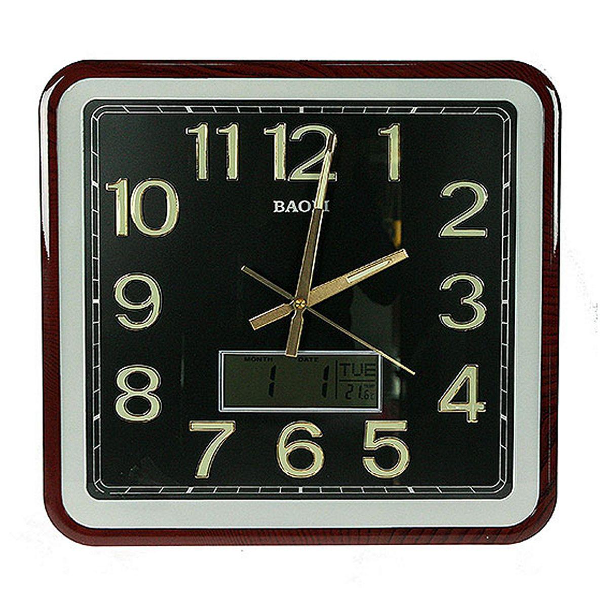 Часы настенные Русские Подарки, 39 х 42 см. 148126148126Настенные часы Русские подарки прекрасно украсят интерьер любой комнаты. Корпус часов выполнен из прочного пластика. В часы встроены дополнительные функции: календарь, термометр и электронные часы.Такие часы станут отличным подарком для друзей и близких.