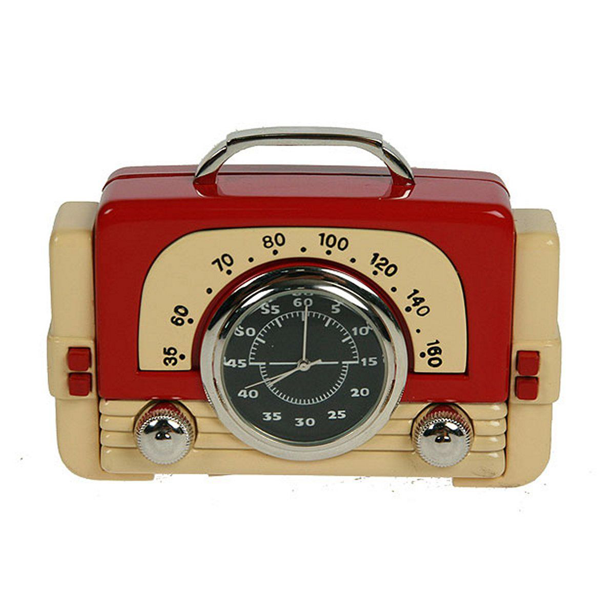 Часы настольные Русские Подарки Ретро радио, 8 х 2 х 5 см. 2241222412Настольные кварцевые часы Русские Подарки Ретро радио изготовлены из металла. Изделие оригинально оформлено в виде небольшого радиоприемника. Часы имеют три стрелки - часовую, минутную и секундную.Такие часы украсят интерьер дома или рабочий стол в офисе. Также часы могут стать уникальным, полезным подарком для родственников, коллег, знакомых и близких.Часы работают от батареек типа SR626 (в комплект не входят).