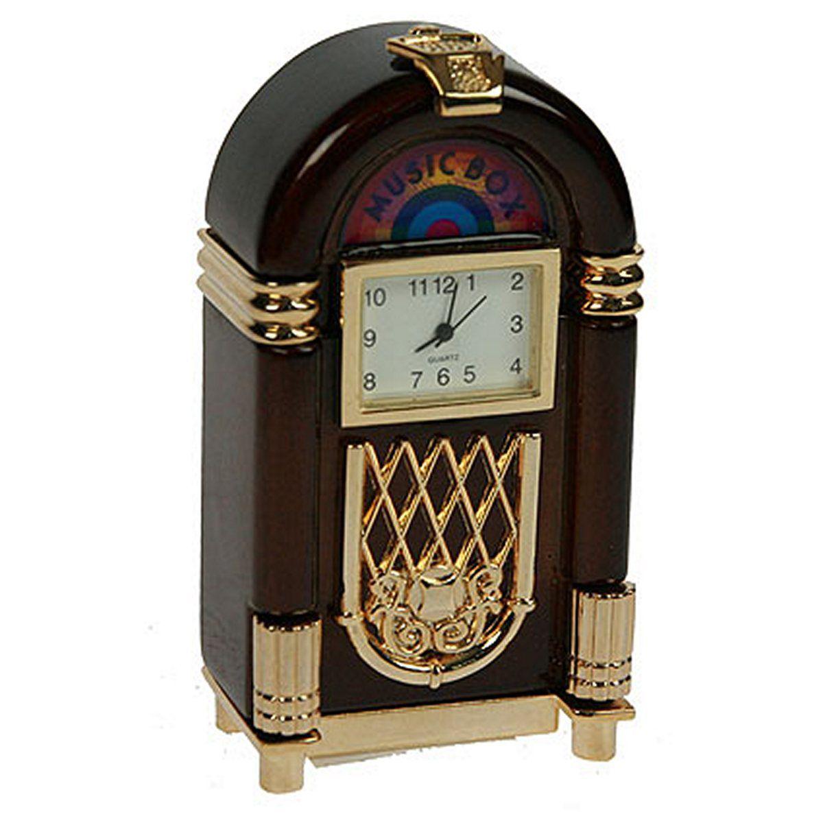 Часы настольные Русские Подарки Музыкальный автомат. 2241322413Настольные кварцевые часы Русские Подарки Музыкальный автомат изготовлены из металла. Корпус оригинально оформлен. Часы имеют три стрелки - часовую, минутную и секундную. Такие часы украсят интерьер дома или рабочий стол в офисе. Также часы могут стать уникальным, полезным подарком для родственников, коллег, знакомых и близких. Часы работают от батареек типа SR626 (в комплект не входят).