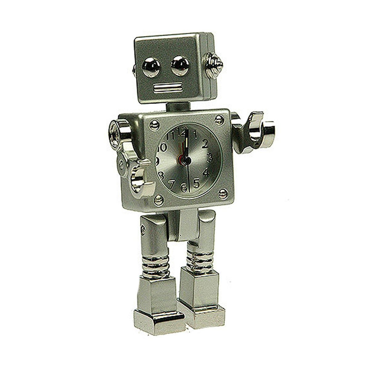 Часы настольные Русские Подарки Робот. 2243222432Настольные кварцевые часы Русские Подарки Робот изготовлены из металла. Изделие оригинально оформлено в виде робота. Часы имеют три стрелки - часовую, минутную и секундную.Такие часы украсят интерьер дома или рабочий стол в офисе. Также часы могут стать уникальным, полезным подарком для родственников, коллег, знакомых и близких.Часы работают от батареек типа SR626 (в комплект не входят).