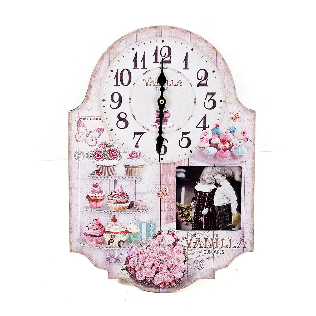 Часы настенные Русские Подарки, 29 х 5 х 42 см. 2963629636Настенные кварцевые часы Русские Подарки изготовлены из МДФ. Корпус оформлен изображением цветов и пирожных, а также украшен вставкой с изображением детей. Часы имеют две стрелки - часовую и минутную. С обратной стороны имеется петелька для подвешивания на стену. Изящные часы красиво и оригинально оформят интерьер дома или офиса.Часы работают от батареек типа АА (в комплект не входят).