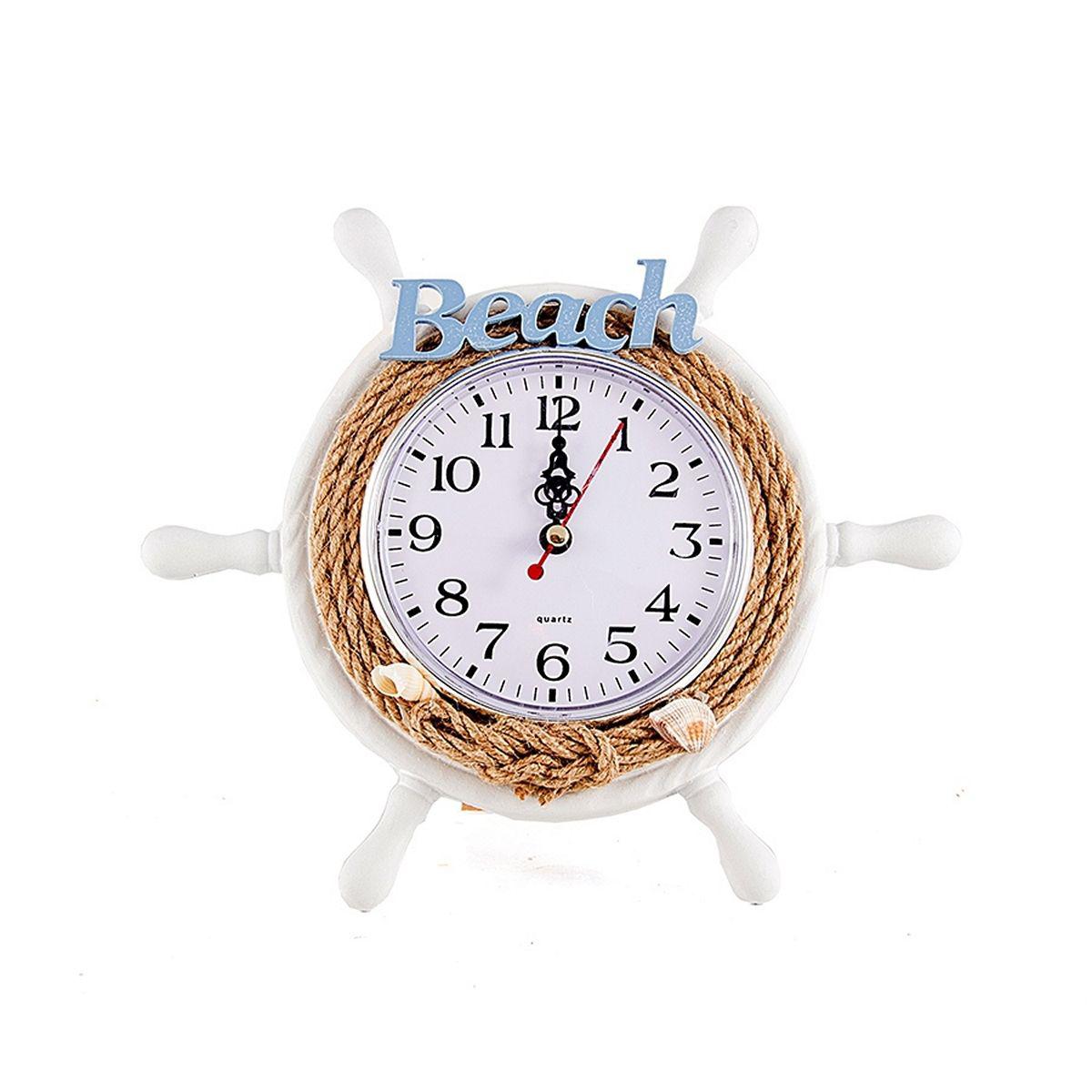 Часы настольные Русские Подарки Морская романтика, диаметр 22 см. 3341033410Настольные кварцевые часы Русские Подарки Морская романтика изготовлены из МДФ, циферблат защищен стеклом. Корпус выполнен в виде штурвала, оформлен натуральными ракушками и надписью Beach. Часы имеют три стрелки - часовую, минутную и секундную.Такие часы украсят интерьер дома или рабочий стол в офисе. Также часы могут стать уникальным, полезным подарком для родственников, коллег, знакомых и близких.