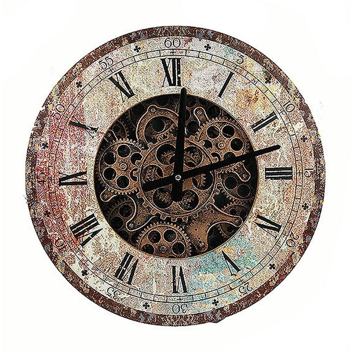 Часы настенные Русские Подарки, 40 х 40 х 7 см. 3478734787Настенные кварцевые часы Русские Подарки изготовлены из МДФ. Корпус оформлен изображением больших и маленьких шестеренок часового механизма. Часы имеют две стрелки - часовую и минутную. С обратной стороны имеется петелька для подвешивания на стену. Изящные часы красиво и оригинально оформят интерьер дома или офиса. Также часы могут стать уникальным, полезным подарком для родственников, коллег, знакомых и близких.Часы работают от батареек типа АА (в комплект не входят).