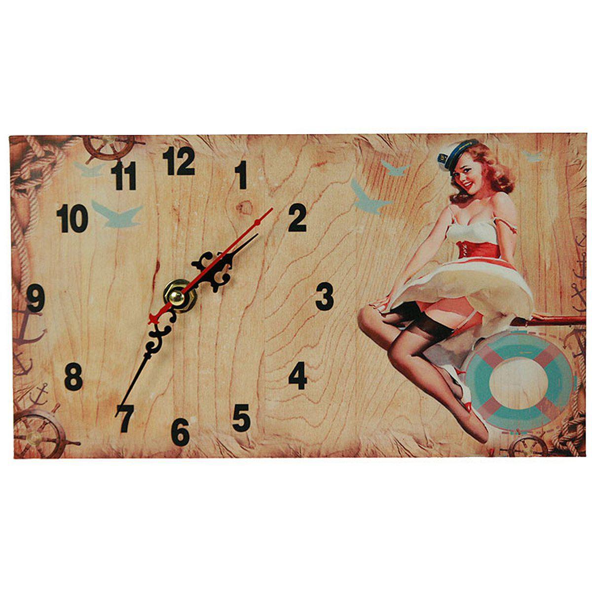 Часы настольные Русские Подарки Пин-ап, 13 х 23 см. 3823338233Настольные кварцевые часы Русские Подарки Пин-ап изготовлены из МДФ. Изделие оригинально оформлено изображением девушки в стиле Пин-ап. Часы имеют три стрелки - часовую, минутную и секундную. Такие часы украсят интерьер дома или рабочий стол в офисе. Также часы могут стать уникальным, полезным подарком для родственников, коллег, знакомых и близких. Часы работают от батареек типа АА (в комплект не входят).