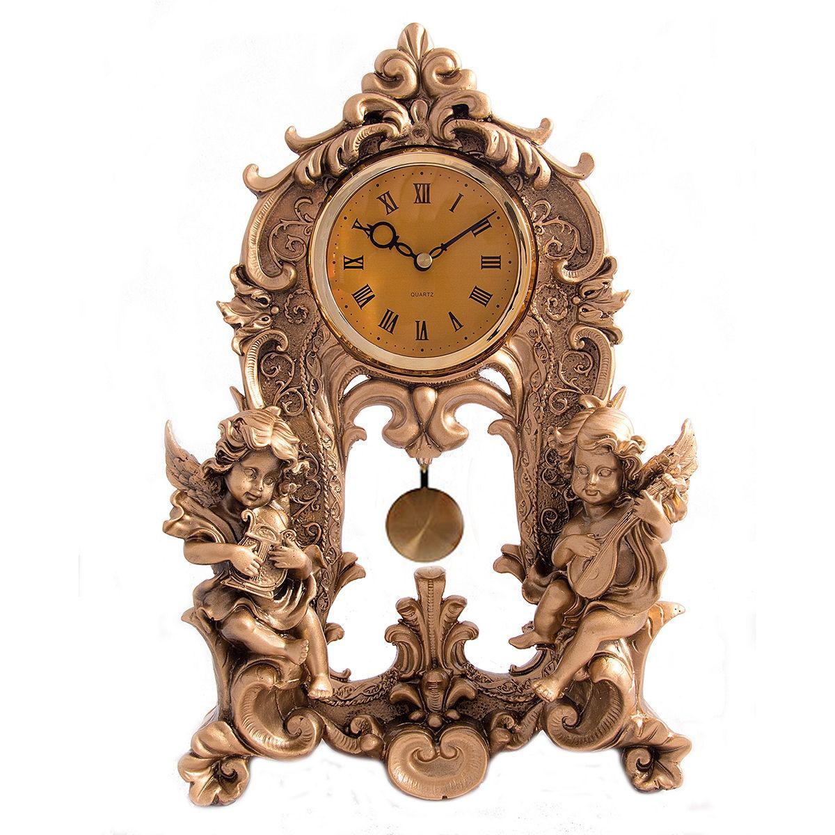 Часы настольные Русские Подарки Ангелочки, цвет: медный, 25 х 9 х 35 см. 59330 статуэтка русские подарки африканка 12 х 9 х 34 см
