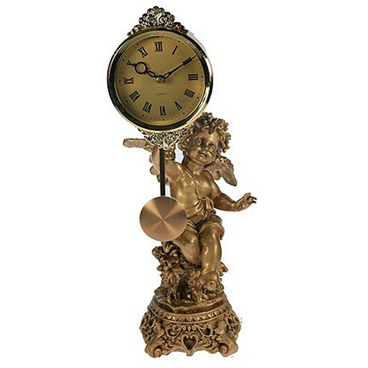 Часы настольные Русские Подарки Ангел, цвет: медный, 39 х 16 х 18 см. 59338 ваза русские подарки винтаж высота 31 см 123710