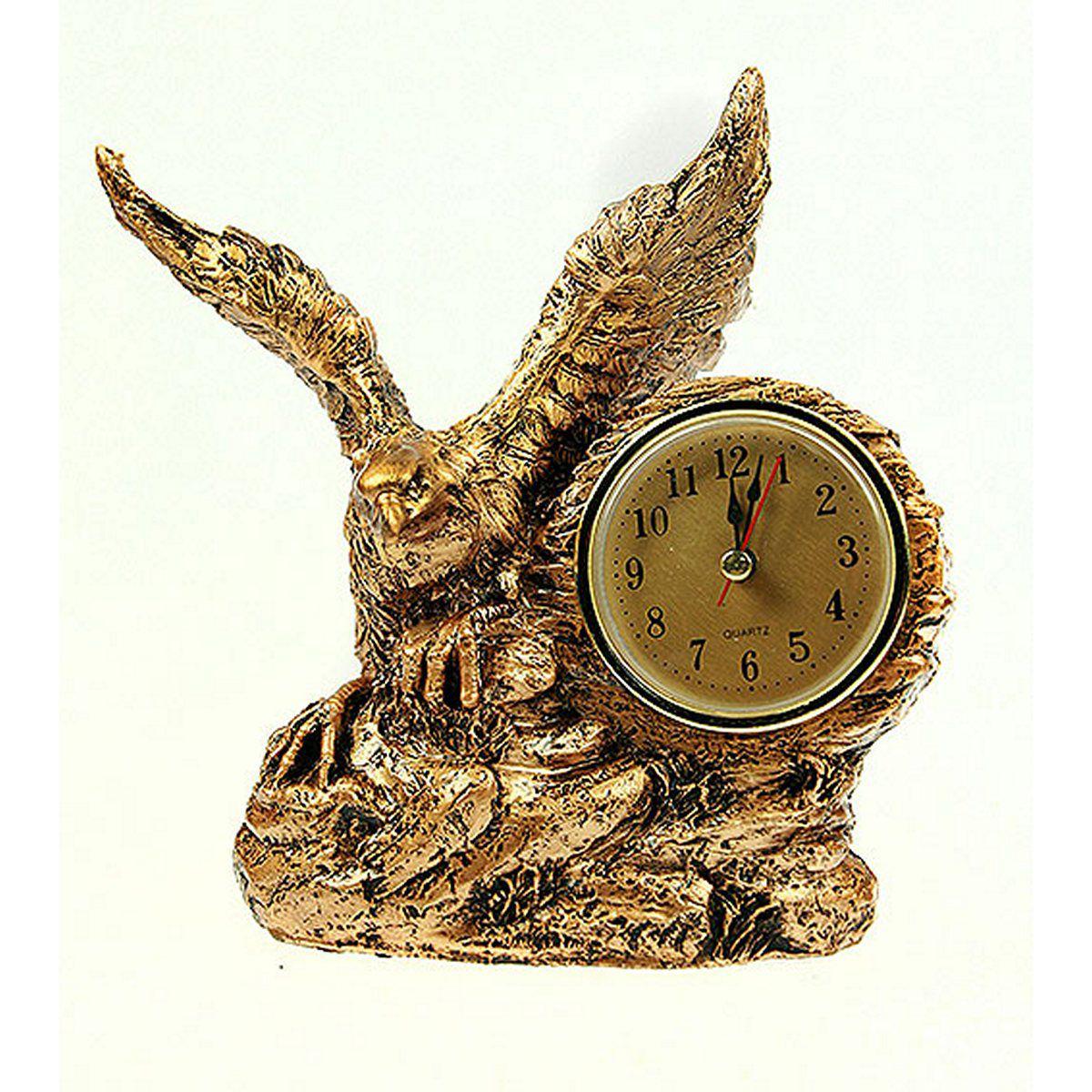 Часы настольные Русские Подарки Орел, цвет: медный, 15 х 8 х 17 см. 59360 ваза русские подарки винтаж высота 31 см 123710