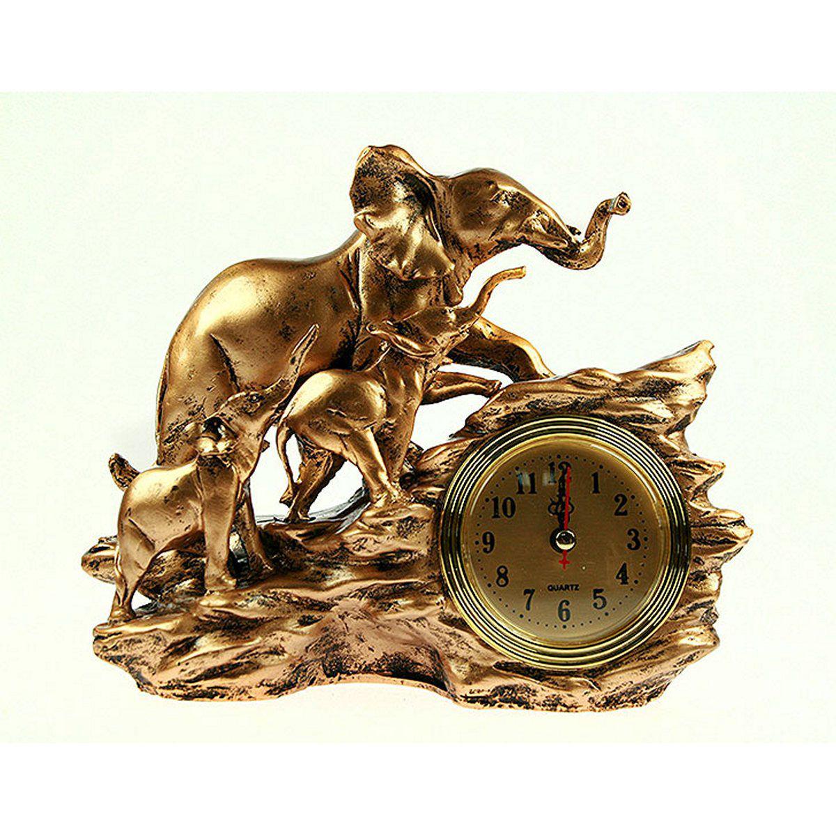 Часы настольные Русские Подарки Слоны, 24 х 9 х 19 см. 59368