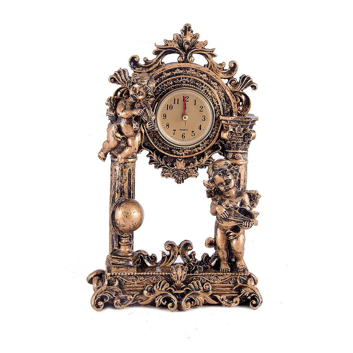 Часы настольные Русские Подарки Ангелочки, 30 х 18 см. 5942159421Настольные кварцевые часы Русские Подарки Ангелочки изготовлены из полистоуна. Часы имеют три стрелки - часовую, минутную и секундную.Изящные часы красиво и оригинально оформят интерьер дома или рабочий стол в офисе. Также часы могут стать уникальным, полезным подарком для родственников, коллег, знакомых и близких.Часы работают от батареек типа АА (в комплект не входят).