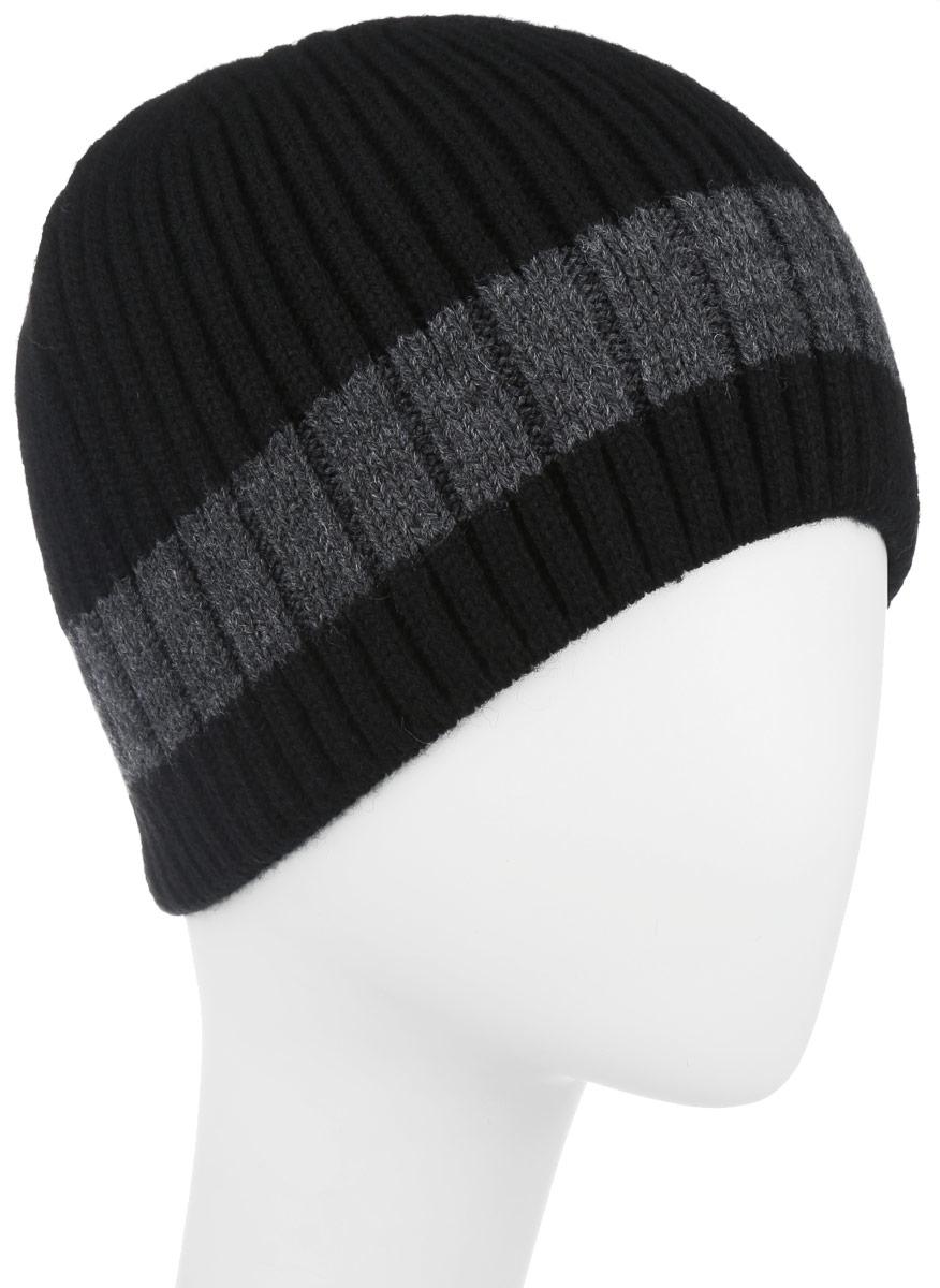 Шапка мужская Leighton, цвет: черный, серый. 5-034. Размер 59/605-034Вязаная мужская шапка Leighton отлично подойдет для повседневной носки и активного отдыха в холодное время года. Быстро выводит влагу от тела, оставляя изделие сухим. Шапка подарит ощущение тепла и комфорта в прохладный день. Сочетание шерсти и акрила максимально сохраняет тепло и обеспечивает удобную посадку, невероятную легкость и мягкость. Стильная шапка Leighton подчеркнет ваш неповторимый стиль и индивидуальность. Такая модель составит идеальный комплект с модной верхней одеждой, в ней вам будет уютно и тепло.Уважаемые клиенты!Размер, доступный для заказа, является обхватом головы.
