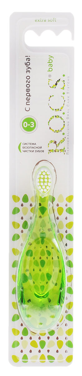 R.O.C.S. Детская зубная щетка от 0 до 3 лет цвет зеленый03-04-015_зелёныйЭкстрамягкая детская зубная щетка R.O.C.S. разработана при участии детских стоматологов.В возрасте от 0 до 3 лет зубы ребенку должны чистить родители, соблюдая правильную технику чистки зубов. Уникальная форма ручки, удобная в использовании, как малышу, так и родителям, позволяет избежать избыточного надавливания на зубы и десны малыша во время чистки. Широкая форма ручки, в свою очередь, препятствует глубокому проникновению щетки в полость рта ребенка.Щетка гигиенична, так как легко моется и не содержит резиновых вставок, на которых обычно начинают размножаться бактерии. Щетка безопасна за счет уникальной технологии полировки кончиков щетины, что предотвращает травму десны и эмали зубов.