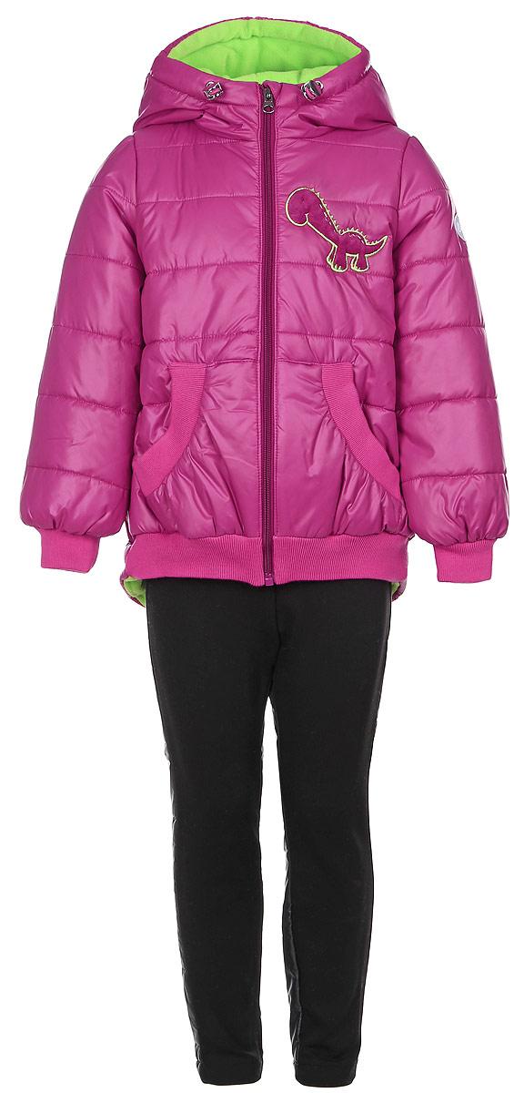 Комплект для девочки Boom!: куртка, брюки, цвет: темная фуксия, черный. 64049_BOG_вар.1. Размер 86, 1,5-2 года64049_BOG_вар.1Комплект одежды Boom!, состоящий из куртки и утепленных брюк, идеально подойдет для вашего ребенка в прохладное время года. Куртка изготовлена из 100% полиэстера. Подкладка выполнена из мягкого теплого флиса, приятная на ощупь. В качестве утеплителя используется синтепон - 100% полиэстер.Куртка с капюшоном застегивается на пластиковую молнию с защитой подбородка и имеет внутреннюю ветрозащитную планку. Несъемный капюшон дополнен затягивающимся шнурком с металлическими стопперами. На рукавах предусмотрены трикотажные манжеты, которые предотвращают проникновение снега и ветра. Спинка модели удлинена. По низу куртка дополнена трикотажными резинками. Спереди расположены два накладных кармана. Изделие украшено декоративными вставками под дракона и аппликацией в виде динозавра. На куртке предусмотрена небольшая светоотражающая нашивка с фирменным логотипом. Брюки изготовлены из разнофактурной ткани. Вставка спереди выполнена из плотного эластичного материала с начесом, сзади - из гладкого материала с тонкой прослойкой синтепона. Брюки, слегка зауженные к низу, имеют на талии широкий эластичный пояс. Такой комплект одежды станет прекрасным дополнением к гардеробу вашего ребенка, он подарит комфорт и тепло.