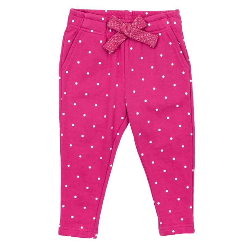 Брюки для девочки PlayToday Baby, цвет: малиновый. 368064. Размер 74368064Уютные брюки для девочки выполнены из мягкого трикотажа с принтом в мелкий горошек. Модель зауженного кроя имеет пояс на резинке, дополнительно регулируемый широкой тесьмой. Изделие дополнено четырьмя функциональными карманами. Яркий цвет модели позволяет создавать стильные образы.