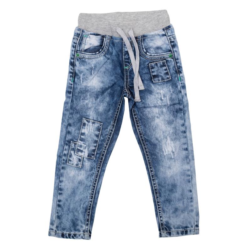 Джинсы для мальчика PlayToday Baby, цвет: синий деним. 367009. Размер 74367009Удобныеджинсы для мальчика выполнены из натурального хлопка в стиле вареных джинсов 90-х годов и оформлены декоративными заплатками. Джинсы зауженного кроя и стандартной посадки на талии имеют пояс на широкой трикотажной резинке, дополнительно регулируемый шнурком. Модель представляет собой классическую пятикарманку: два втачных и один маленький накладной кармашек спереди и два накладных кармана сзади.