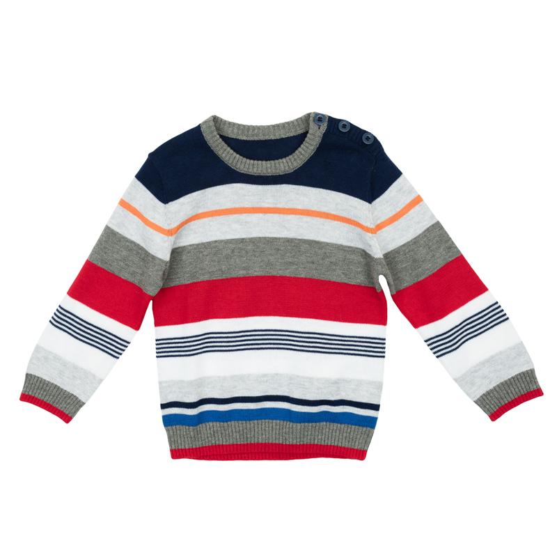 Джемпер для мальчика PlayToday Baby, цвет: белый, красный, синий. 367056. Размер 74367056Уютный джемпер для мальчика изготовлен из вязаного трикотажа и оформлен стильным узором в разнокалиберную полоску. Воротник, рукава и низ изделия связаны мягкой резинкой. На плече предусмотрены пуговицы для легкого переодевания ребенка.