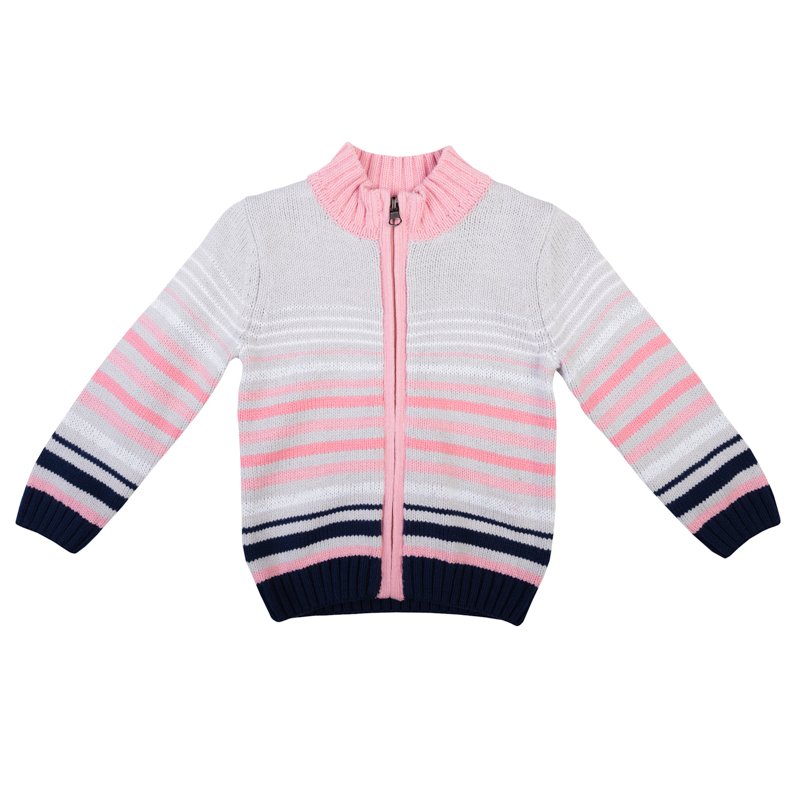 Кофта для девочки PlayToday Baby, цвет: серый, розовый, белый, темно-синий. 368006. Размер 92368006Украшена рисунком в разнокалиберную полоску, есть полоски из сверкающей люрексной нити.