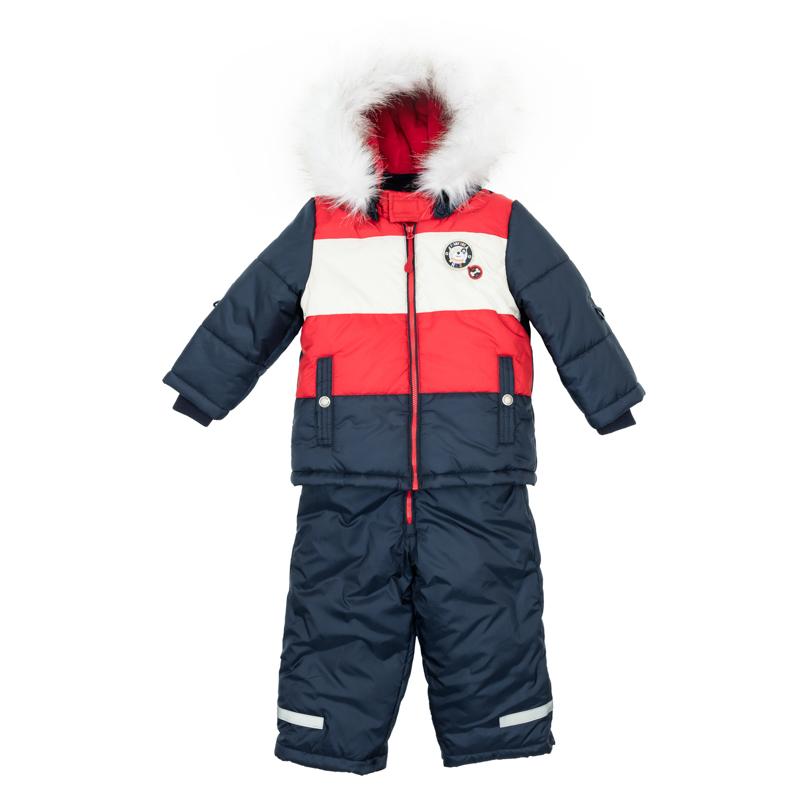 Комплект для мальчика PlayToday Baby: куртка, полукомбинезон, цвет: темно-синий, красный, белый. 367051. Размер 74