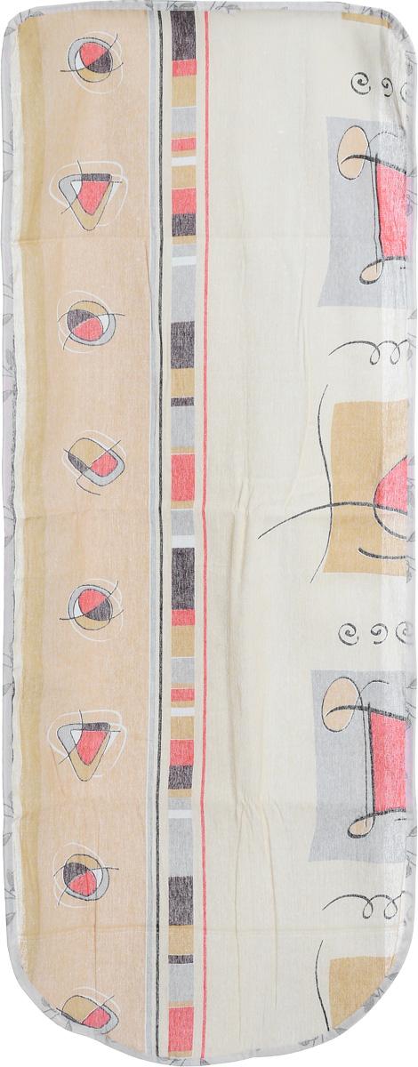 Чехол для гладильной доски Eva Треугольники и круги, 125 х 47 смЕ13_бежевый, треугольник, кругЧехол для гладильной доски Eva, выполненный из хлопка и поролона, предназначен для защиты или замены изношенного покрытия гладильной доски. Оформлен красивым геометрическим узором. Чехол снабжен стягивающим шнуром, при помощи которого вы легко отрегулируете оптимальное натяжение чехла и зафиксируете его на рабочей поверхности гладильной доски. Этот качественный чехол обеспечит вам легкое глажение. Он предотвратит образование блеска и отпечатков металлической сетки гладильной доски на одежде.Размер чехла: 125 x 47 см. Максимальный размер доски: 116 х 40 см.