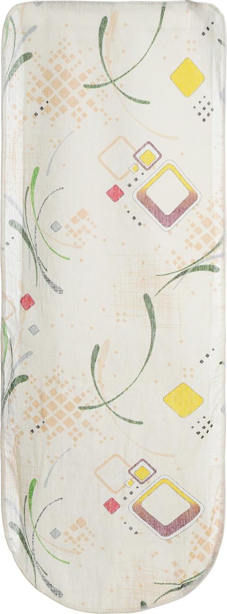 Чехол для гладильной доски Eva Желтый квадрат, 125 х 47 смЕ13_бежевый, желтый, квадратЧехол для гладильной доски Eva, выполненный из хлопка и поролона, предназначен для защиты или замены изношенного покрытия гладильной доски. Оформлен красивым геометрическим узором. Чехол снабжен стягивающим шнуром, при помощи которого вы легко отрегулируете оптимальное натяжение чехла и зафиксируете его на рабочей поверхности гладильной доски.Этот качественный чехол обеспечит вам легкое глажение. Он предотвратит образование блеска и отпечатков металлической сетки гладильной доски на одежде. Размер чехла: 125 x 47 см.Максимальный размер доски: 116 х 40 см.