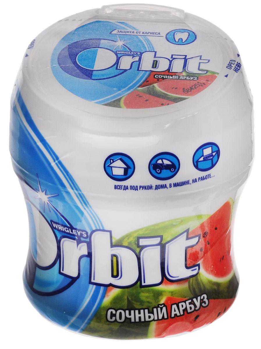 Orbit Сочный арбуз жевательная резинка без сахара в банке, 54,4 г4009900448178Жевательная резинка Orbit Сочный арбуз без сахара способствует поддержанию здоровья зубов: удаляет остатки пищи, способствует уменьшению зубного налета, нейтрализует вредные кислоты, усиливает процесс реминерализации эмали. Употребление жевательной резинки каждый раз после еды способствует поддержанию чистоты и здоровья зубов в дополнение к уходу за ротовой полостью с помощью зубной щетки.