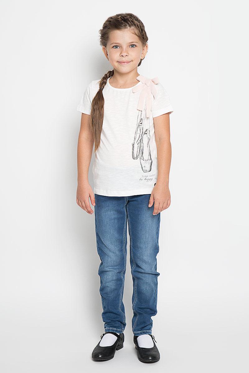 Футболка для девочки Tom Tailor, цвет: белый. 1034550.00.81_2067. Размер 116/122 джинсы для девочки tom tailor цвет синий 6205466 00 81 1094 размер 122