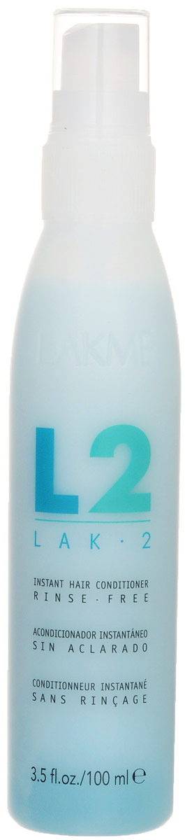 Lakme Кондиционер для экспресс-ухода за волосами LAK-2 Instant Hair Conditioner, 100 мл45511Комбинация гидролизованных протеинов и катионных полимеров специально разработана для воздействия на наиболее чувствительные участки волос. Придает волосам мягкость и блеск, не утяжеляя их. Мгновенно распутывает и одновременно защищает волосы. В результате волосы становятся более гладкими и легко расчесываются. Идеален для применения на окрашенных и осветленных волосах.Сохраняет и проявляет цвет окрашенных волос.